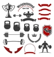 Weightlifting sport club isolated icons for emblem vector image