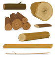 wood logs trunks and planks set vector image vector image