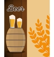 wooden barrel beer glass and wheats leaf vector image vector image