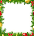 Xmas Fir Tree Frame With Red Ribbon And Stars vector image vector image