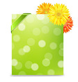 Yellow Gerber And Blank Gift Tag vector image