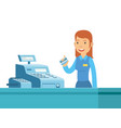 young girl cashier are happy can work at vector image vector image