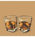 Whiskey in two glasses vector image