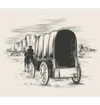 Old wagon in wild west prairies vector image