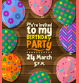 birthday party invitation card with flat balloons vector image vector image