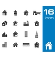 black building icons set on white background vector image vector image
