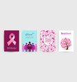 breast cancer awareness pink ribbon poster set vector image
