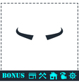 Buffalo horns icon flat vector image vector image
