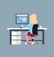 business woman sit at office desk working at vector image