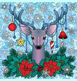 christmas deer on doodle seamless background vector image
