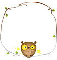 cute funny owl sits on a frame of a tree branch vector image vector image