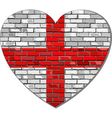 England flag on a brick wall in heart shape vector image vector image