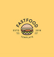 fast food logo template hot burger design vector image vector image