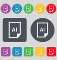 file AI icon sign A set of 12 colored buttons Flat vector image