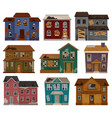 flat set of abandoned houses with broken vector image vector image