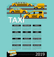flat taxi 2019 year calendar template vector image vector image