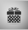 gift box and heart icon packaging valentines day vector image vector image