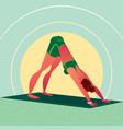 girl standing in yoga downward-facing dog pose vector image vector image
