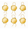 gold wax seals with rope for letter or certificate vector image