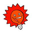 happy flashing red light bulb comic cartoon vector image vector image