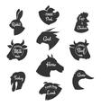 heads farm animals icons set butchery vector image vector image