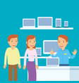husband and wife when they are to buy computer in vector image vector image