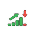 icon concept sales bar chart moving up and vector image vector image