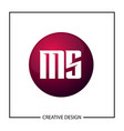 initial letter ms logo template design vector image vector image