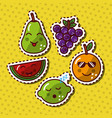 kawaii smiling fruits adorable food cartoon vector image vector image
