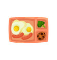 lunch box with fried eggs and sausages fresh vector image