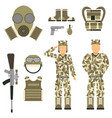 military character weapon guns symbols armor man vector image vector image