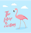 pink flamingo icon over white background vector image vector image