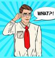 pop art confused businessman vector image vector image