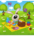 rabbit on picnic in park vector image
