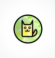 Round Icon with cute Cat vector image