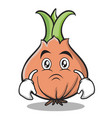 sad face onion character cartoon vector image vector image