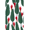 seamless pattern tropical leaves with red ginger vector image vector image