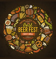 set beer fest cartoon doodle objects round vector image vector image