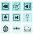 set of 9 audio icons includes dance club extract vector image vector image