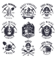 Set of vintage coal mining emblems vector image vector image