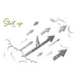 start up concept hand drawn isolated vector image vector image