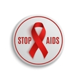 Stop AIDS white badge with red ribbon vector image