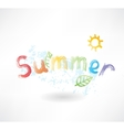 summer by letters grunge icon vector image vector image