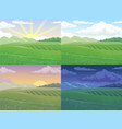 summer field green hill daytime fields landscape vector image vector image