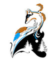 tatto style fox with winter elements for salons vector image