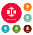 watermelon icons circle set vector image