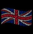 waving great britain flag pattern of radioactivity vector image vector image