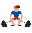 weightlifter in blue shirt on white background vector image vector image