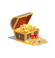 wooden chest full of ancient royal shiny tresures vector image