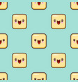 yellow smile face seamless pattern background cute vector image